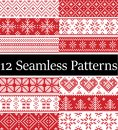 Nordic style vector samples inspired by Scandinavian Christmas, festive winter seamless pattern in cross stitch with heart, snow
