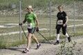 Nordic walking competition international german championship half marathon in roding Stock Images