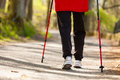 Nordic walking. Female legs hiking in the park. Royalty Free Stock Photo