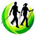 Nordic walking logo in vector quality. Royalty Free Stock Photo