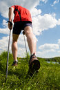 Nordic walking man Stock Photos
