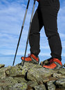 Nordic Walking in mountains, hiking concept Stock Photos