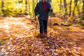 Nordic walking sport run walk motion blur outdoor person legs fo cultivating the figure of a man in the autumn in the forest Stock Images