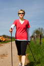 Nordic walking woman 2 Stock Photos