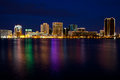 Norfolk virginia skyline dusk christmas lights Royalty Free Stock Images