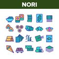 Nori Seaweed Asia Food Collection Icons Set Vector