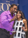 "Norm lewis and nikki m james emcee introduces fellow tony winner to sing on my own from les miserables at ""stars in the alley Royalty Free Stock Photos"