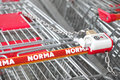 Norma shopping carts of the german discounter Stock Photo