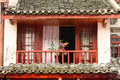 Normal chinese home balcony with beautiful flowers Stock Photography