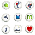 Normal weight healthy eating and other icons living symbols food fitness no stress leads to Stock Images