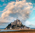 Normandy, France. Sunset view of Mont Saint-Michel Royalty Free Stock Photo