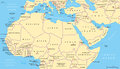 North Africa and Middle East political map Royalty Free Stock Photo