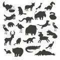 North America animals silhouettes, isolated on white background vector illustration. Black contour big vector set Royalty Free Stock Photo