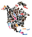 North America continent made of  shoes Stock Photo