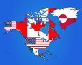 North America Flag Map Royalty Free Stock Photo