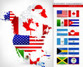 North America Map with Flags Royalty Free Stock Photo