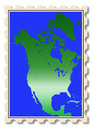 North America map illustration on stamp Royalty Free Stock Photo