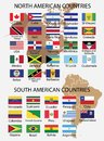 North America and South American Countries Flags