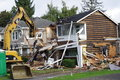 North American house demolition Royalty Free Stock Photo