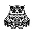 North american native art, owl Royalty Free Stock Photo