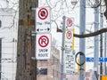 North American no parking signs in Toronto, Ontario, Canada Royalty Free Stock Photo