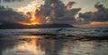 Tropical Sunset Oahu Hawaii Royalty Free Stock Photo