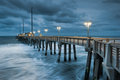North carolina jennettes fishing pier nags head stormy morning heavy storms move into the coastal region of s outer banks at Royalty Free Stock Photography