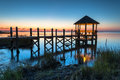 North carolina outer banks obx hatteras island coastal gazebo blue hour the of evening settles onto a calm pamlico sound and a Royalty Free Stock Photography