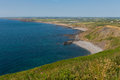 North cornwall coast and beach view including widemouth bay Stock Photo