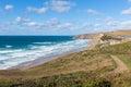 North Cornwall coast path Watergate Bay England UK Cornish beach between Newquay and Padstow Royalty Free Stock Photo