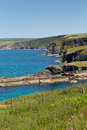 North cornwall coast from port isaac in direction of bude england facing Royalty Free Stock Image