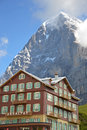 North face hotel kleine scheidegg august with the eiger at kleine scheidegg switzerland on august kleine scheidegg is a famous Royalty Free Stock Image