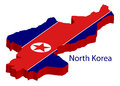 North korea flag on white background illustration Royalty Free Stock Image