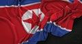 North Korea Flag Wrinkled On Dark Background 3D Render