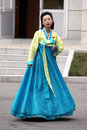 North korea she is a narrator of the korean leader gift memorial hall she is waiting to greet new visitors at the moment Stock Image