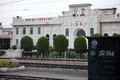 North korea s train station here is a humble it is situated between pyongyang and the sinuiju used electric locomotive Stock Photography