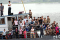 North korea september the korean national day this day every year the korean people were allowed to boat trip the yalu river here Royalty Free Stock Photography