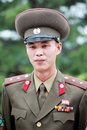 North korean army officer outdoor portrait he has been serving in panmunjom korea it is a dangerous area Stock Images