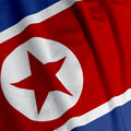 North Korean Flag Closeup Stock Photos