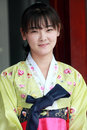North korean girl charming in national costumes outdoor portrait taken in september Stock Photo
