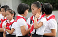 North korean schoolgirls korea s young pioneers red scarf is a symbol of young pioneers here is the pyongyang children s palace Stock Images