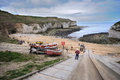 The north landing at flamborough head on the north yorkshire coast a view of beach and surrounding rock area is an area Royalty Free Stock Images