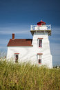 North rustico lighthouse on hill in prince edward island canada Stock Images