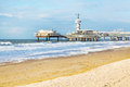 North Sea beach and Scheveningen Pier near Hague, Holland Royalty Free Stock Photo