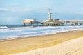 North Sea beach and Scheveningen Pier near Hague, Holland Royalty Free Stock Photo