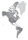 North and South America high detailed political map in grey scales. All layers detached and labeled. Vector