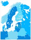 Northern Europe Map in Five Shades Of Blue. No text