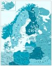 Northern Europe Political Map In Aqua Blue Colors