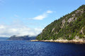 Northern fjord beautiful waters and mountains of the saguenay quebec canada Royalty Free Stock Photography