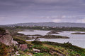 Northern ireland coastal landscape rocky with cottages and inlets and bays Royalty Free Stock Photos